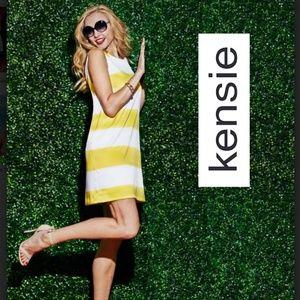 Kensie Yellow & White Thick Stripe Dress